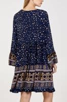 NAVY LEOPARD PRINT TIERED TUNIC TOP/DRESS ONE SIZE 10-18